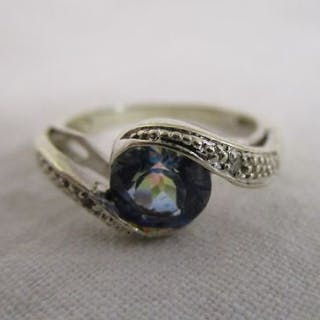 White gold mystic topaz & diamond set ring