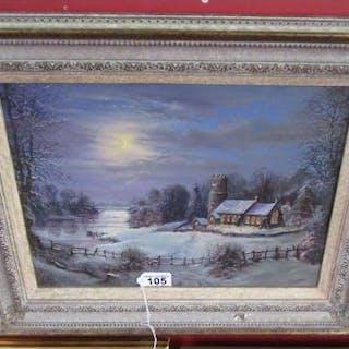 Oil by P Bradshaw - Church scene