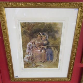Watercolour 'The Sisters' by Fredrick Tayler R W S 1802 to 1889