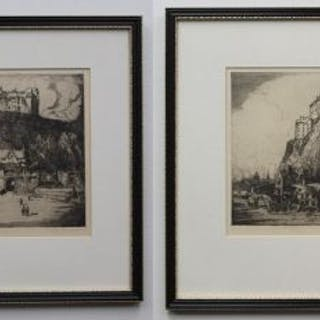2 etchings by William Monk - Edinburg Castle & Edinburg Castle 2
