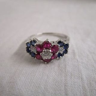 18ct white gold ruby & diamond sapphire triple cluster ring