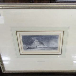 Small pencil drawing by R P Bonington signed R.P.B.