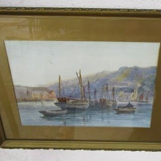 Watercolour by A Callen of Looe Harbour in Cornwall