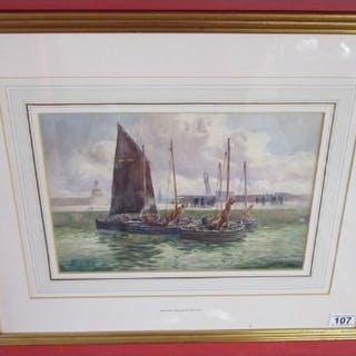 Watercolour - Harbour scene by John Ernest Aitken R.S.W. 1881 to 1957