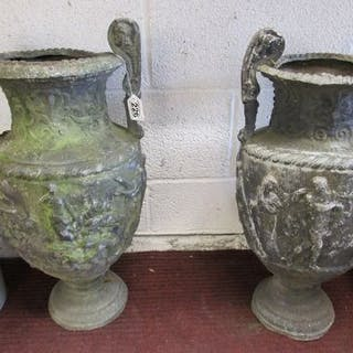 Pair of early lead urns (H: 61cm)