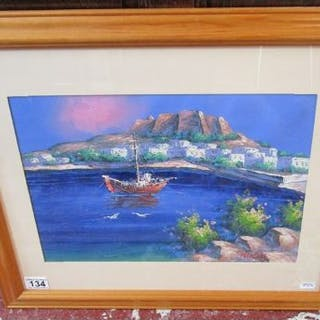 Mediterranean oil - Ship in bay signed Nico Lacy