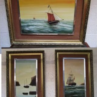 3 oil paintings - Ship themes by Morley Wescomb
