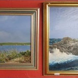 Pair of oils - Coastal scenes signed John Hamilton (1919-1993, BRITISH)