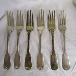 Set of 6 Britannia silver forks - Approx 440g