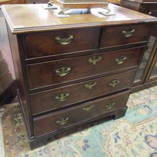 Antique mahogany chest of 2 over 3 drawers (H: 97cm W:96cm D:55cm)