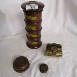 Small sectional spice container, turned nut meg greater, Tunbridgeware
