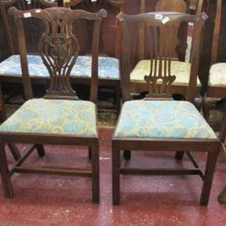 2 pairs of 18thC dining chairs