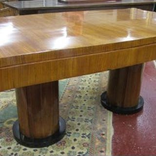 Stunning Art Deco kingwood twin pedestal dining table (H: 77cm L:184cm W:99cm)