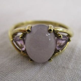 Gold amethyst & moonstone set ring