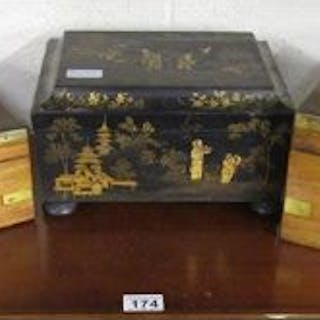 Black lacquer Chinese box & 2 others