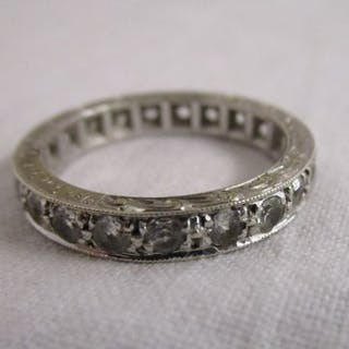 White gold & white sapphire full eternity ring