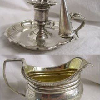 Silver candle holder with snuffer & silver cream jug (Circa 1833)
