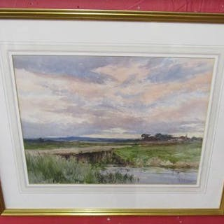 Watercolour - Rural scene signed D Green