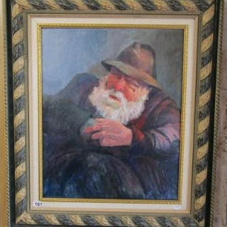 Framed oil on board - Fisherman by Ernest Horton RBSA (1935 - 2001)