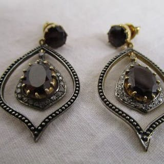 Pair of garnet & diamond drop earrings