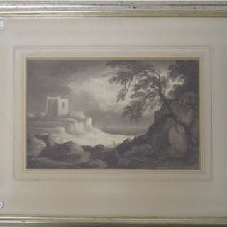 Monochrome watercolour - The ship wreck by Benjamin Barker of Bath