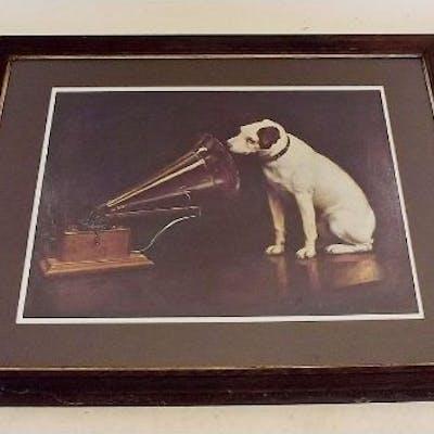 An Hmv Poster With Dog 56 X 43cm Barnebys