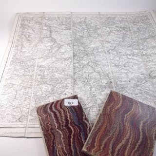 Three vintage French linen backed maps including Rouen etc