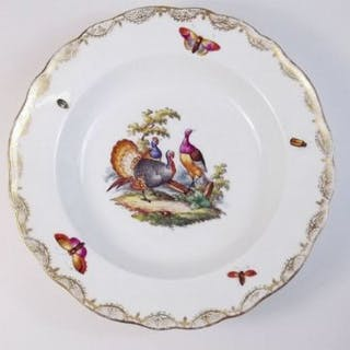 A 19th century Meissen set of six dessert bowls painted exotic birds