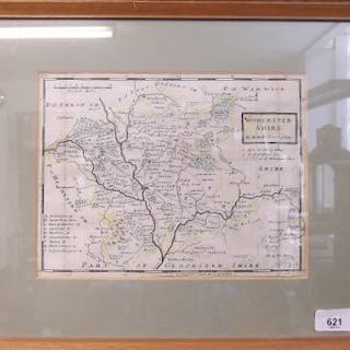 An 18th century map of Worcestershire by H Moll - 19 x 25cm