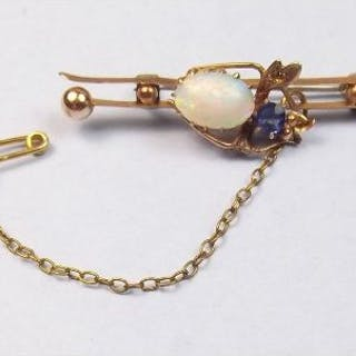 An Edwardian bee brooch (a/f one wing missing) set opal and blue stone