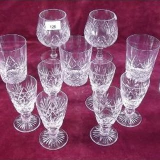 A pair of Stuart Crystal brandy glasses, seven tumblers and a set