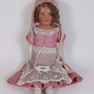 A Victorian composition and bisque doll 31cm