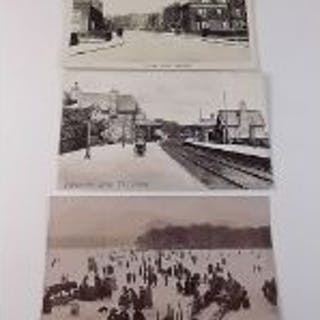 Postcards - Cumbria topo with Grange-Over-Sands station interior