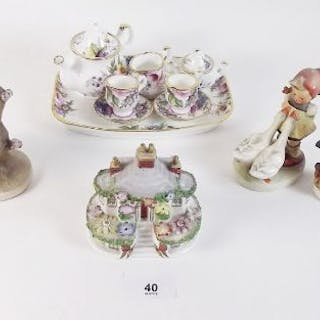 Three Hummel figures (one with tiny chip), a Coalport pastille burner