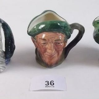 Three small Royal Doulton Toby Jugs - Auld Mac, ' Arriet and Neptune