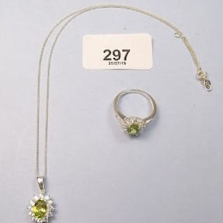 A peridot and white topaz ring and necklace