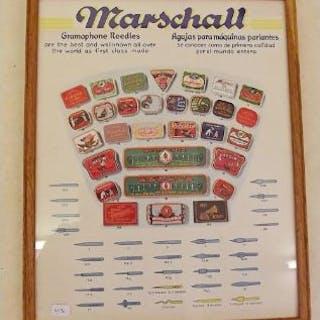 A Marshall Gramophones needles display poster 32 x 25cm