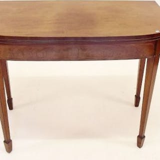 A George III mahogany fold top card table with satinwood stringing