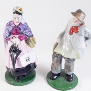 A Royal Staffordshire figure of an old lady and a porcelain figure