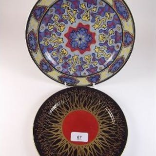Royal Doulton Persian plate D1900 and a Royal Worcester plate painted