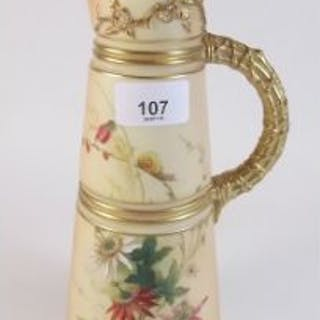 A Royal Worcester ivory blush tall jug painted flowers, No 1047 - 25cm