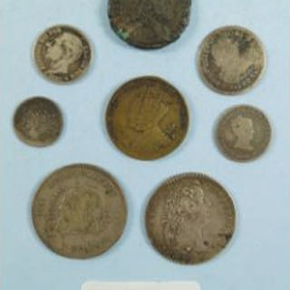 A miscellaneous collection of silver coins and Jetson including: Spanish