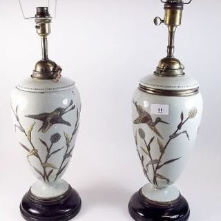 A pair of Victorian green porcelain table lamps painted birds - 37cm