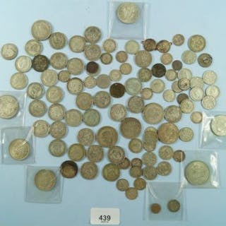 A quantity of silver content coinage including threepences, sixpences