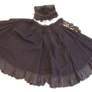 A Victorian embroidered black cape and muff, and various evening bags etc
