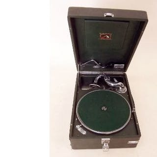 A 'His Masters Voice' HMV portable record player in green case
