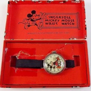 An Ingersoll Mickey Mouse wrist watch - boxed
