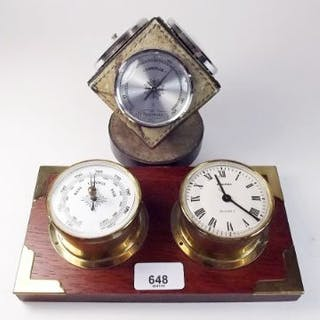 A 1960's German cube form barometer/thermometer and hygrometer with