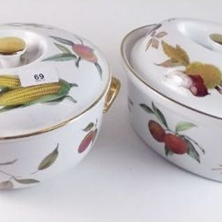 A Royal Worcester Evesham group of china comprising: teapot, three