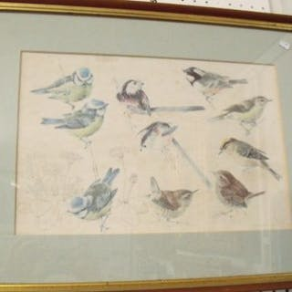 A print of birds after H E Eldridge - 22 x 34cm
